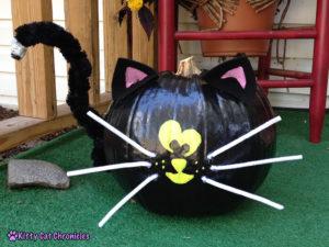 Halloween DIY Project: Painted Cat Pumpkins - black cat painted pumpkin