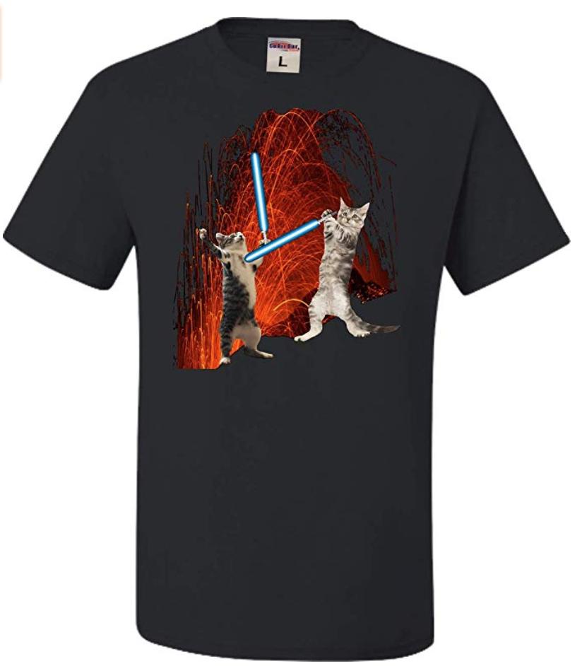 Star Wars Anakitten vs Katobi Lava Battle T-shirt