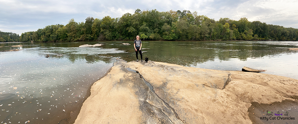 panoramic shot of a woman and black cat beside the Ocmulgee River